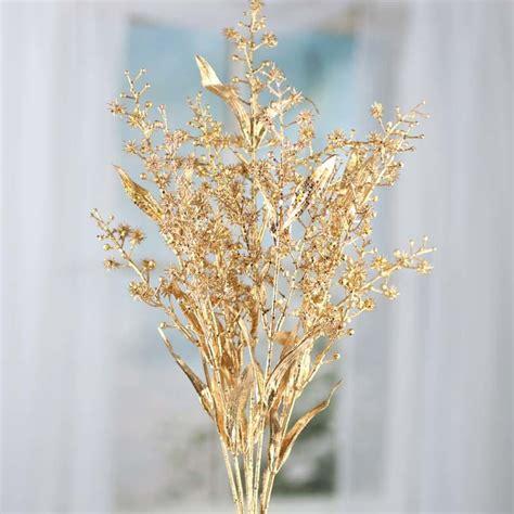 gold sparkling artificial spike flower  leaf spray