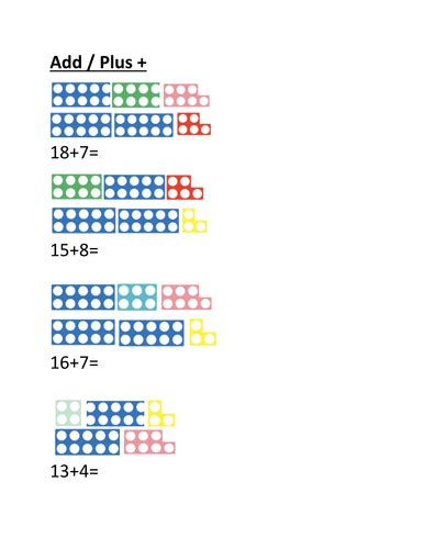 numicon addition sheet  cormic teaching resources
