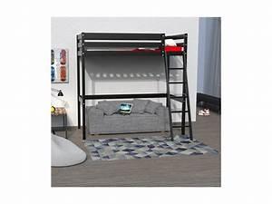 Lit Mezzanine 140x190 : lit mezzanine 140x190 studio 1 sommier noir vente de ~ Melissatoandfro.com Idées de Décoration