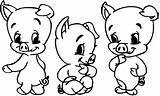 Pigs Coloring Three Pig Ausmalbilder Schwein Schweine Seite sketch template