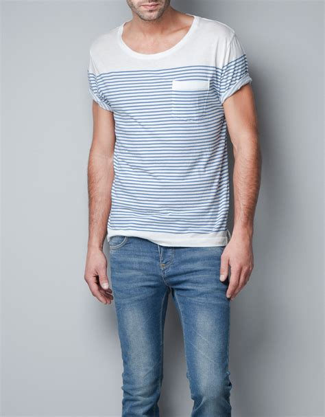Boat Neck T Shirt For Mens by Zara Boat Neck T Shirt In White For Blue Lyst