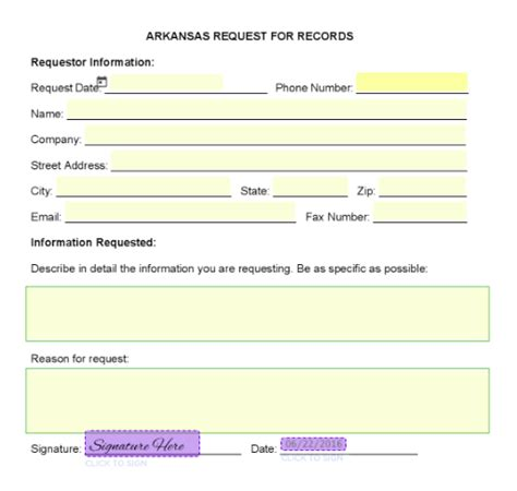 Foia Request Template by Arkansas Freedom Of Information Act Request Form