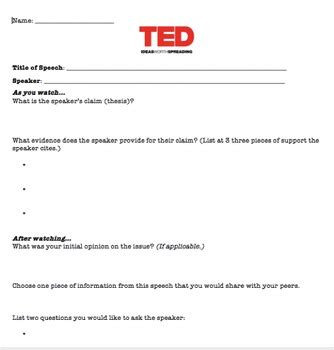 ted talk worksheet by curtis teachers pay teachers