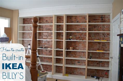 how to build a wall bookcase step by step ikea hack billy built in bookshelves part 1 home