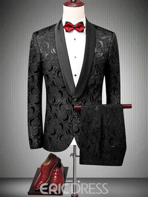 ericdress printed  button mens black wedding ball suits