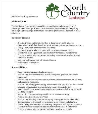 sample landscaping job description templates