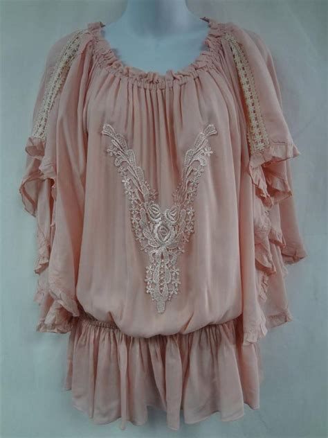 mango light blush pink caftan tunic top shirt
