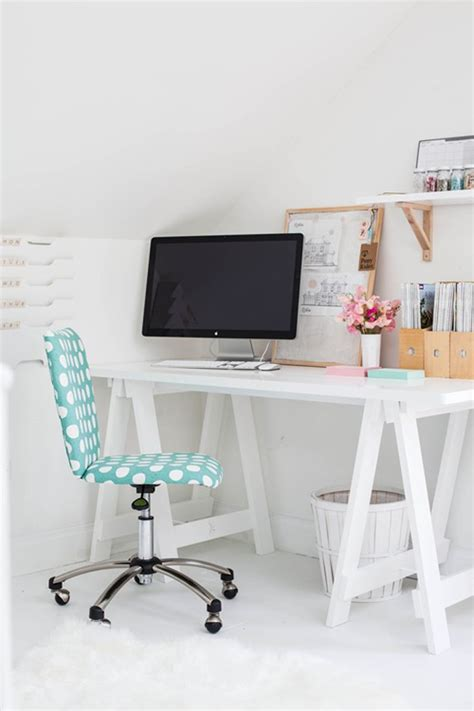 white desk and teal polka dot chair d 233 cor