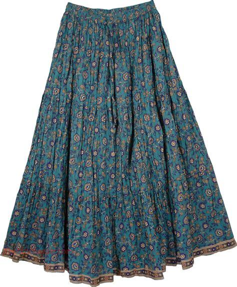 Paradise Blue Cotton Print Long Skirt   Clothing