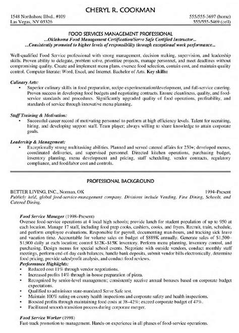 Dietary Supervisor Resume by Food Service Manager Resume Berathen