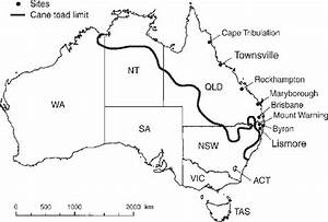 Map Showing The Cane Toad  Bufo Marinus  Sampling Sites