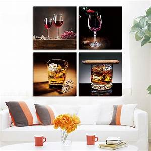 4 piece canvas paintings wall poster art painting modern for Best brand of paint for kitchen cabinets with cheap contemporary wall art