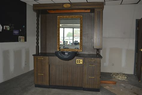barber stations with sink beauty props accessories