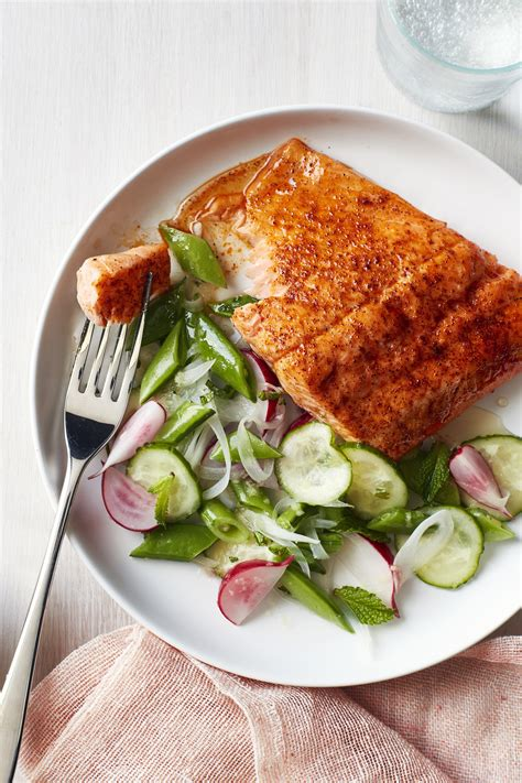 roasted blackened salmon  snap pea salad recipe
