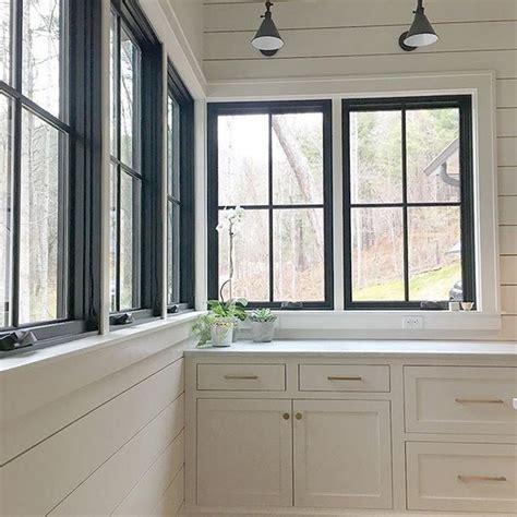modern farmhouse home office  black window trim  black window trims windows