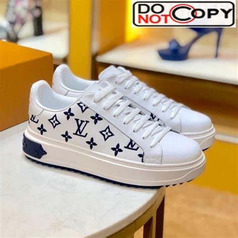 louis vuitton time   top sneakers  monogram embroidered calfskin whiteblue lv