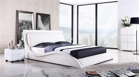 bed modern design top grain leather cover king