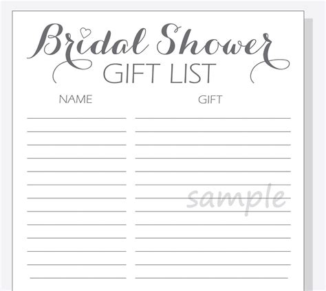 I love everything about baby showers from the little bitty onesies to the fun diaper cakes, they are always guaranteed to be a fun time filled with love and laughter! DIY Bridal Shower Gift List Printable Calligraphy Script ...
