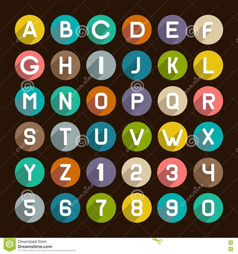set of alphabet letters and icons for alphabet design flat style alphabet icons set numbers and letters stock 39852