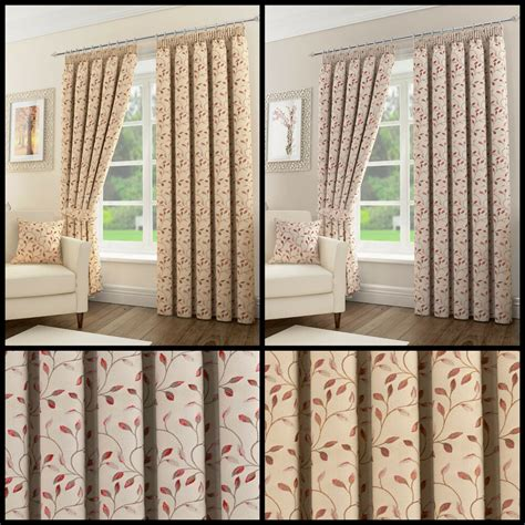 Living Room Curtains Pencil Pleat by Sherwood Floral Leaf Pair Of Pencil Pleat Lined Curtains