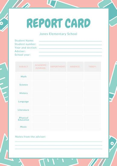 pink white  teal school icons elementary school report