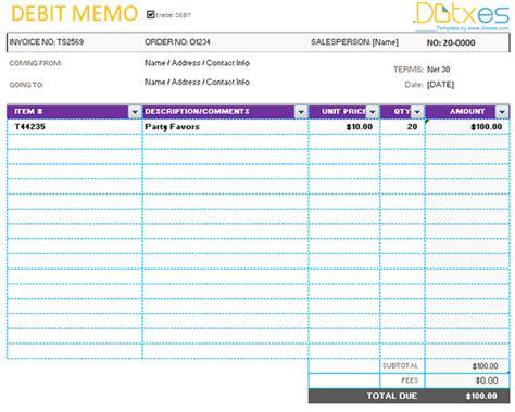 debit memo format template format  debit memo sample