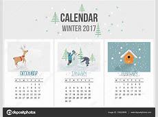 Kleurrijke schattig seizoenen kalender van 2017 van de
