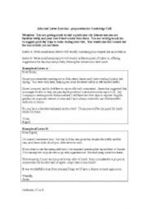 informal letter exercise prep  cambridge advanced