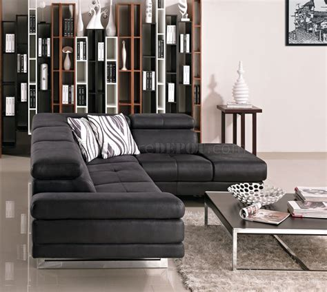 black fabric modern sectional sofa wadjustable headrest