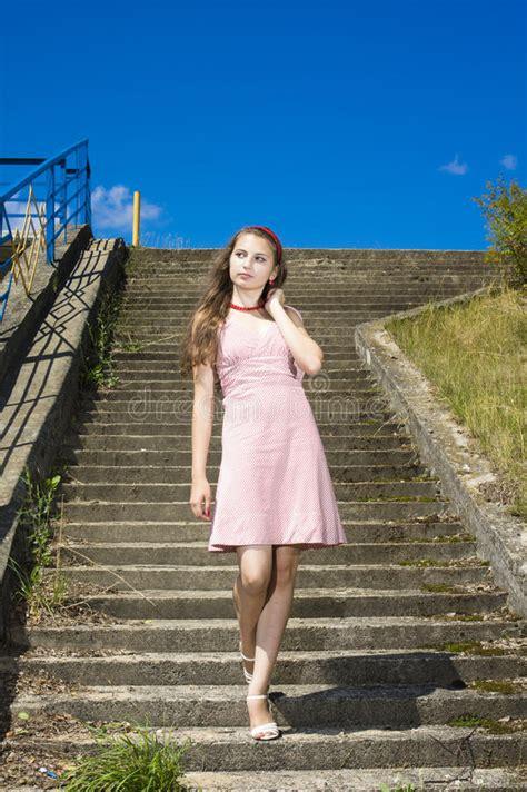 Beauty Vintage Teen Girl Posing Outdoors Stock Photo