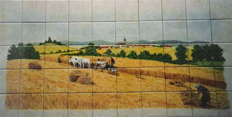 faience de cuisine paysage sur faïence décor moderne fresque sur carrelage