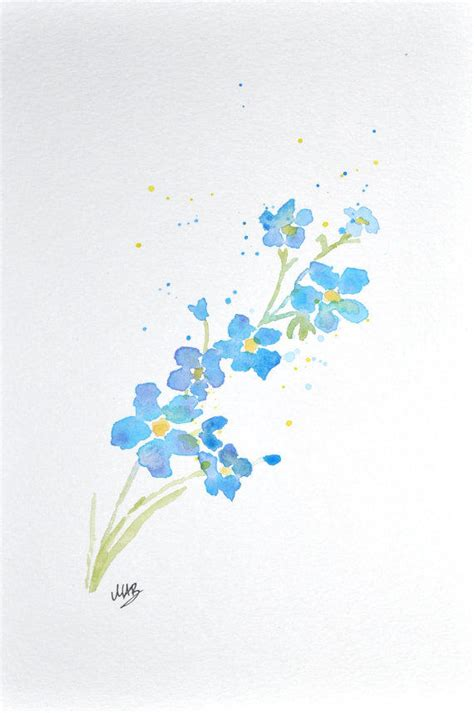 watercolor forget   flower painting  mabartstudio