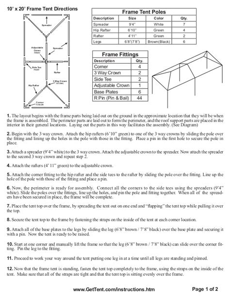 canopy tent assembly instructions adinaporter