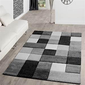 Teppich Schwarz Weiß : teppich wohnzimmer modern karo muster mit konturenschnitt ~ A.2002-acura-tl-radio.info Haus und Dekorationen