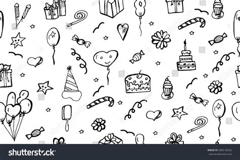 happy birthday vector pattern doodle drawing stock vector