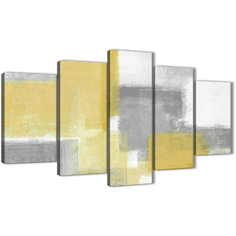 5 mustard yellow grey abstract living room canvas wall decor 5367 160cm xl set artwork