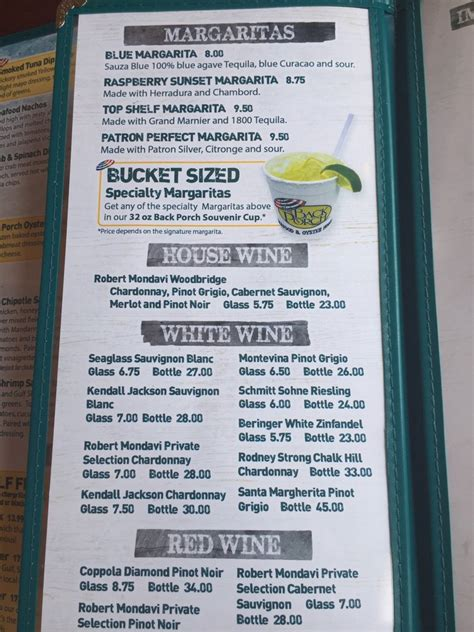 back porch destin menu drink menu 2 yelp