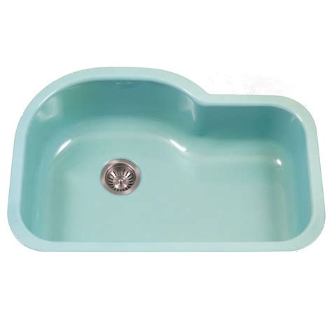 undermount offset single bowl sink houzer porcela series undermount porcelain enamel steel 31