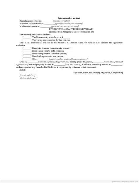 printable interspousal grant deed formblank word