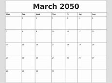 March 2050 Free Monthly Calendar Template