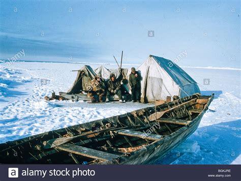 Umiak Boat by Alaska Barrow Eskimos At Whaling C With Seal Skin