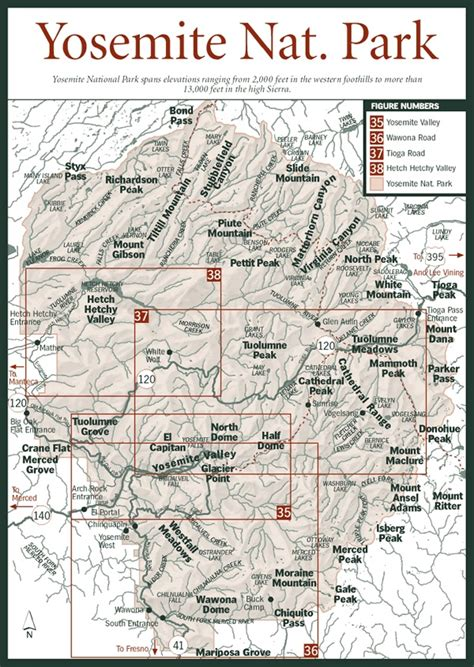 yosemite national park map yosemite national park