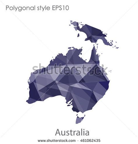 australia continent map geometric polygonal styleabstract