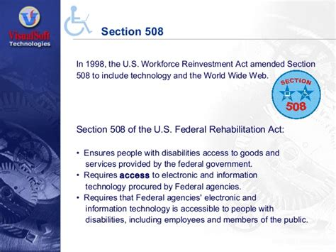section 508 of the rehabilitation act impact of accessibility on technical writing