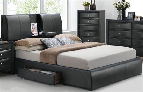 Kofi Black Queen Upholstered Platform Storage Bed From
