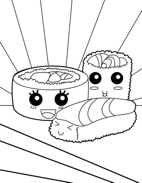 kawaii coloring book sushi makis coloring page coloring pages