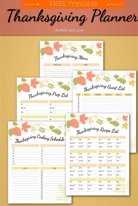 thanksgiving planner printable  thanksgiving