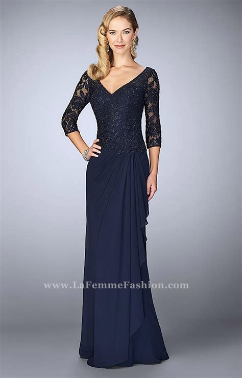 la femme  long  neck crepe chiffon prom dress