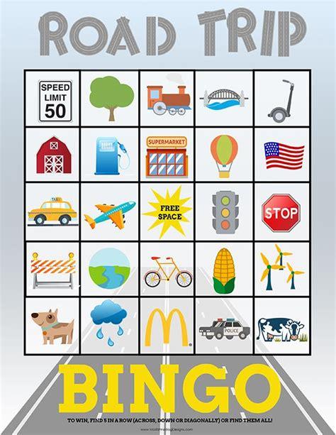 travel bingo cards  kids perfect  road trips top