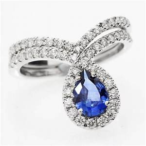 blue sapphire peare shaped diamond wedding engagement ring With sapphire engagement wedding ring sets